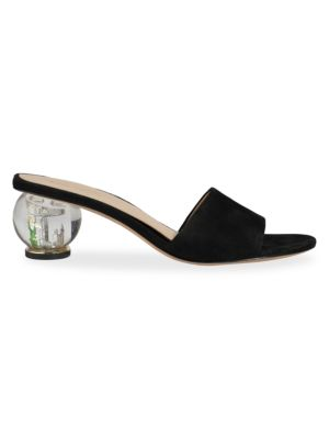 Polished Bauble-Heel Suede Mules