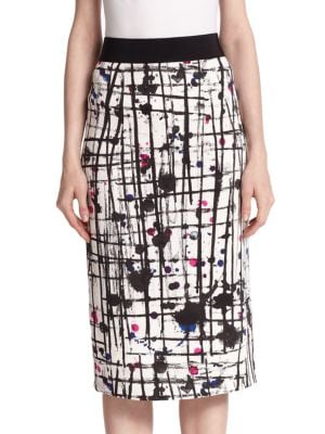 Paint Splatter Pencil Skirt