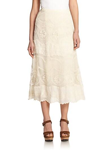 Lace Embroidered Wrap Skirt $219.56 AT vintagedancer.com