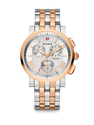 Sport Sail 20 18K Rose Goldplated & Stainless Steel Large Chronograph Bracelet Watch