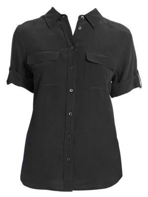 Short-Sleeve Slim Blouse