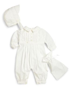 Infant's Three-Piece Pintucked Christening Coverall,  Hat & Storage Bag Set