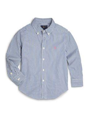 Toddler Boy's Striped Cotton Poplin Dress Shirt