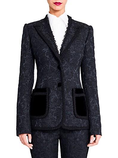 Trimmed Jacquard Jacket $882.33 AT vintagedancer.com