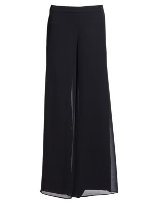 Caviar Collection Silk Georgette Wide-Leg Pants