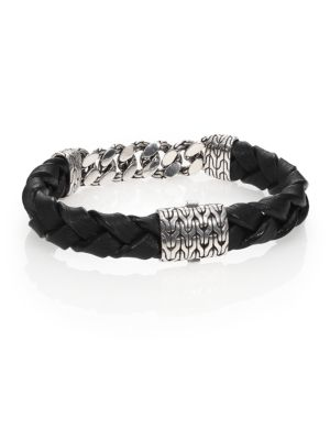 Classic Chain Gourmette Silver Link & Leather Bracelet