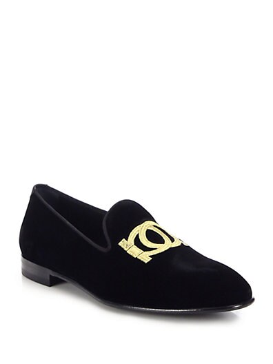 Double Gancini Velvet Smoking Slippers $509.01 AT vintagedancer.com