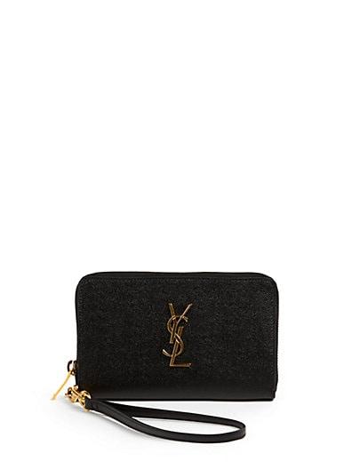 Saint Laurent Monogramme Caviar-Leather Zip Wristlet