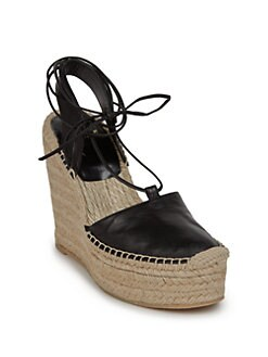 aa976aca588 Saint Laurent Leather Espadrille Wedge Sandals from Saks Fifth ...