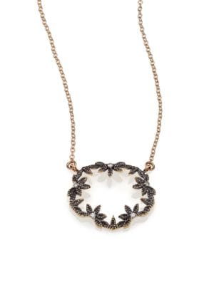 MIZUKI Diamond & 14K Blackened Gold Small Open Petal Necklace