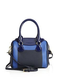 e58fd4582eb8 Burberry Mini Bee Colorblock Pebbled   Patent Leather Bowler Bag