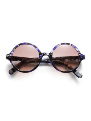52MM Marbleized Round Sunglasses