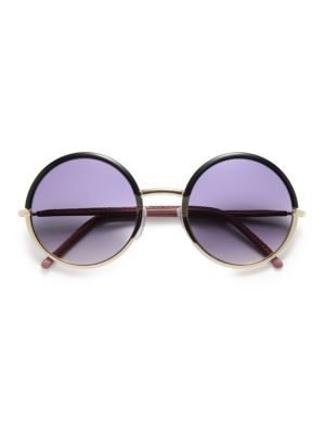 54MM Leather-Trimmed Round Sunglasses
