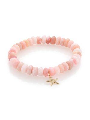 Diamond, Pink Opal & 14K Yellow Gold Starfish Beaded Stretch Bracelet