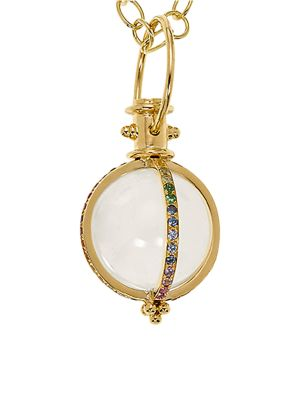 Celestial Rock Crystal, Multicolor Sapphire, Diamond & 18K Yellow Gold Classic Amulet