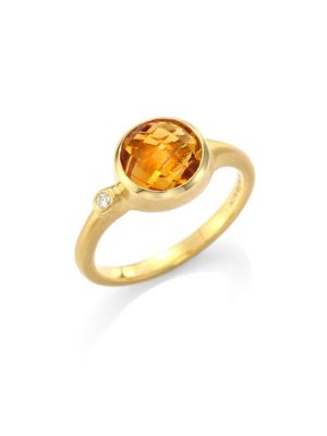 Orange Citrine & Diamond Stack Ring