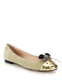 Kate Spade New York - Walk Metallic Leather-Paneled Mouse Suede Flats