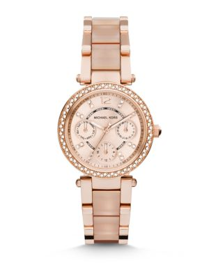 Mini Parker Pavé Rose Goldtone Stainless Steel & Acetate Chronograph Bracelet Watch