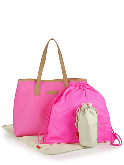 Ariel Leather-Trimmed Diaper Tote