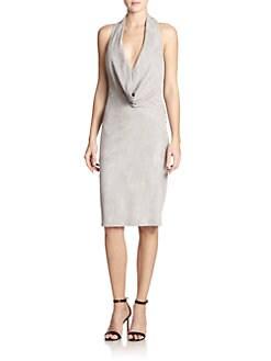 Halston Heritage Suede Cowlneck Dress