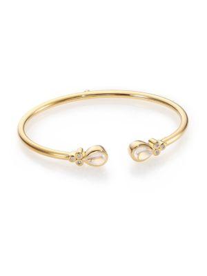 Bellina Royal Blue Moonstone, Diamond & 18K Yellow Gold Bangle Bracelet