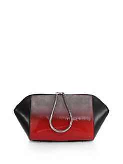 Alexander Wang Chastity Large Ombre Suede & Leather Cosmetic Bag/Silvertone