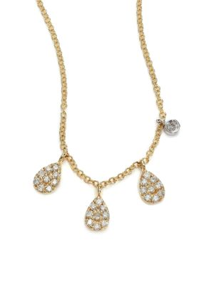 Diamond & 14K Yellow Gold Pear Charm Necklace