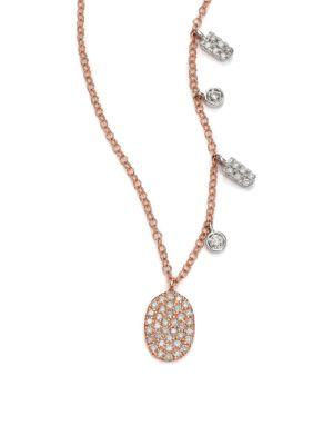 Diamond & 14K Rose Gold Oval Pendant Necklace