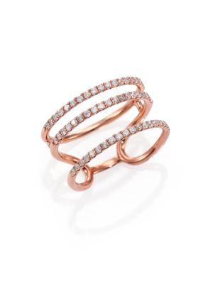 Diamond & 14K Rose Gold Triple Band Ring