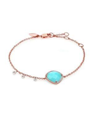 Blue Amazonite, Diamond & 14K Rose Gold Bracelet