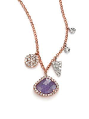 MEIRA T Tanzanite, Mother-Of-Pearl, Diamond & 14K Rose Gold Doublet Pendant Necklace