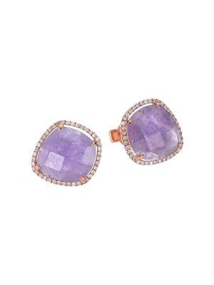 MEIRA T Tanzanite, Mother-Of-Pearl, Diamond & 14K Rose Gold Doublet Earrings