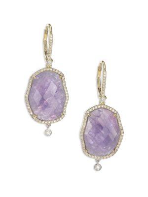 Tanzanite, Mother-Of-Pearl, Diamond & 14K Yellow Gold Drop Earrings