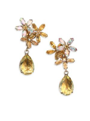 1950s Vintage Faceted Clip-On Drop Earrings