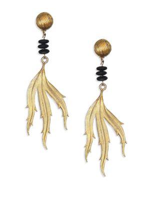 1970s Vintage Yves Saint Laurent Clip-On Leaf Drop Earrings
