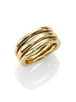 Classico 18K Yellow Gold Smooth Squiggle Triple-Bang Ring
