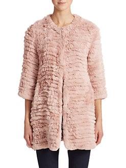 Adrienne Landau - Knit Rabbit Fur Coat <br>