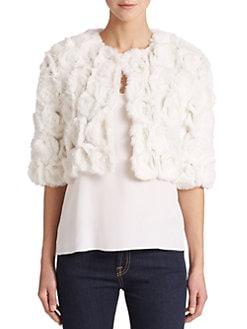 Adrienne Landau - Cropped Rabbit Fur Jacket