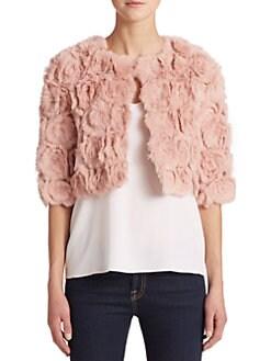 Adrienne Landau - Cropped Rabbit Fur Jacket <br>