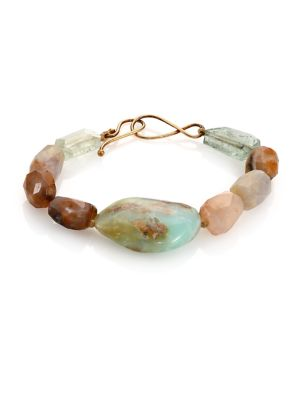 Raw Chalcedony, Aquamarine & Opal Beaded Bracelet