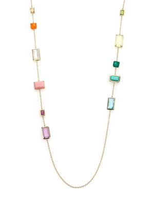 Rock Candy Summer Rainbow Semi-Precious Multi-Stone & 18K Yellow Gold Rectangle Station Necklace