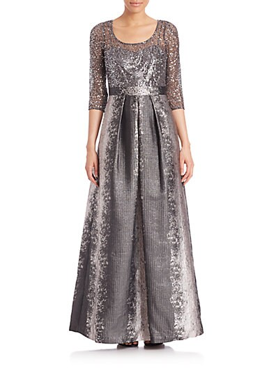 Sequin Lace  Metallic Jacquard Gown $522.77 AT vintagedancer.com