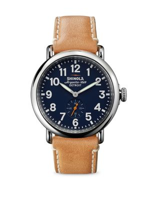 Runwell Stainless Steel & Leather Strap Watch