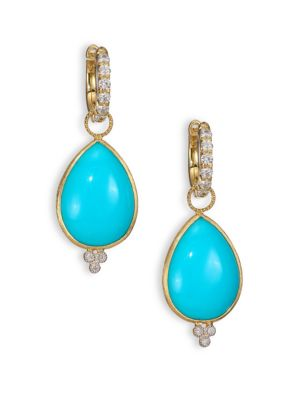 Classic Turquoise, Diamond & 18K Yellow Gold Large Pear Earring Charms