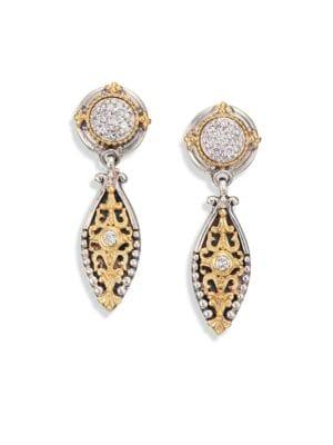 Asteri Diamond, 18K Yellow Gold & Sterling Silver Filigree Marquis Drop Earrings