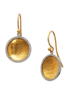 Hourglass Diamond & 24K Yellow Gold Small Drop Earrings