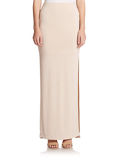 ALICE AND OLIVIA Side-Slit Jersey Maxi Skirt, Tan