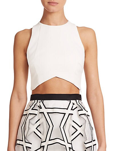 Paneled Crepe Cropped Top