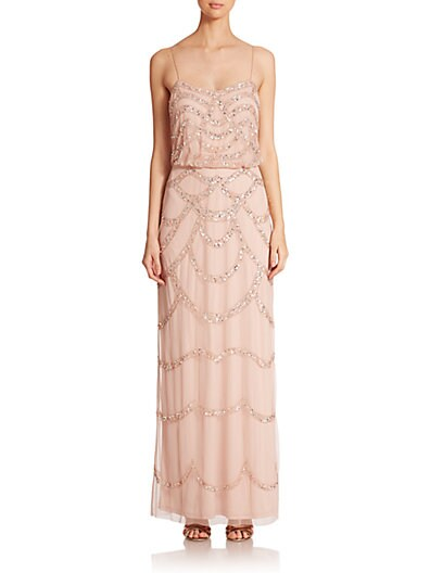 Sequin Blouson Bridesmaid Gown $271.90 AT vintagedancer.com
