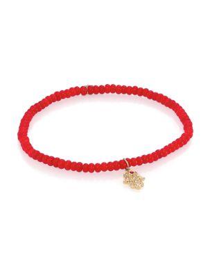 Hamsa Diamond, Red Coral & 14 K Yellow Gold Hamsa Beaded Bracelet by Sydney Evan
